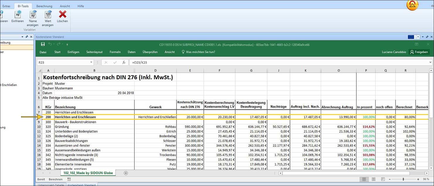 Kostenforschreibung nach DIN276